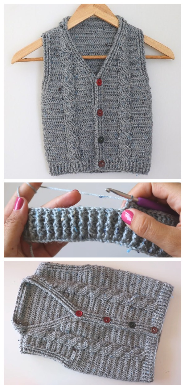 Crochet Easy Cable Sweater Vest