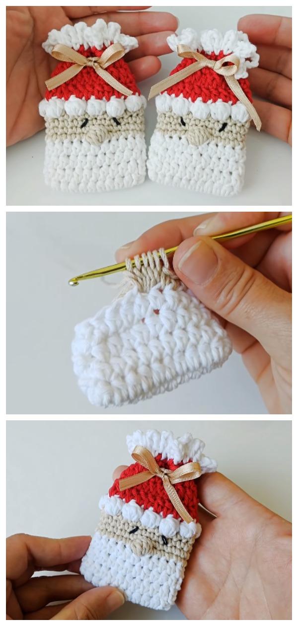 Crochet Santa Christmas Bags